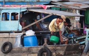 Leben auf einem Mekongboot