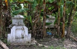 Gräber am Rande des Reisfeldes