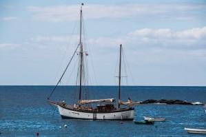 Deutscher Segler in der Bucht vor El Puertito