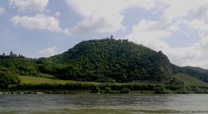 Blick über den Rhein auf den Drachenfels