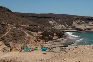 Zelte und Hütten zwischen El Puertito und La Caletta