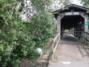 Auf kleinen Brücken werden Nebenarme des Rheins überquert.....