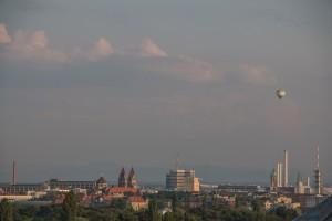 Blick auf München und die Alpen